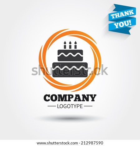Birthday cake sign icon. Cake with burning candles symbol. Business abstract circle logo. Logotype with Thank you ribbon. Vector - stock vector