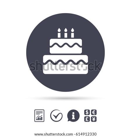 Birthday Cake Sign Icon Cake Burning Stock Vector 614912330