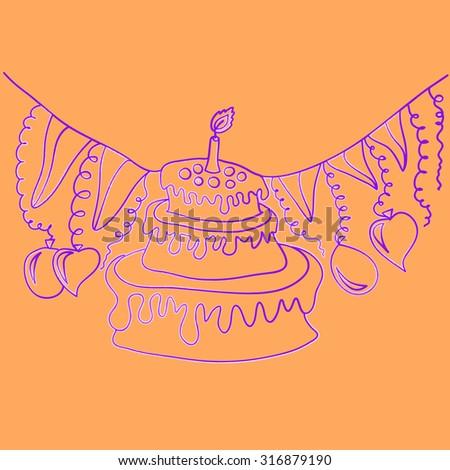 Birthday cake. Vector  background - stock vector