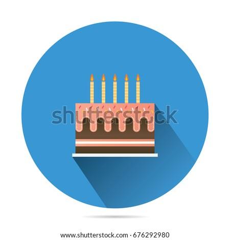 Birthday Cake Sweet Purple Cream Vector Stock Vector 587742278