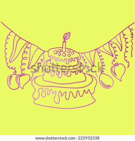 Birthday cake. Vector image - stock vector