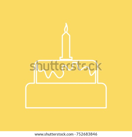 Birthday Cake Vector Line Icon Eps10 Stock Photo Photo Vector