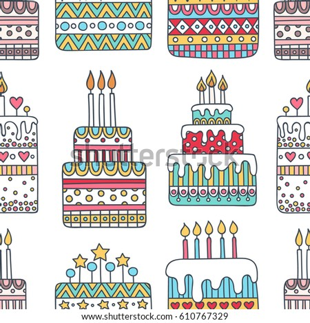 Birthday Cake Vector Seamless Pattern Hand Stock Vector 610767329