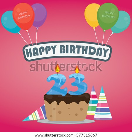 23th birthday stock images royalty free images vectors birthday cake with a candle number 23 in flat style for birthday party invitation and cards thecheapjerseys Gallery