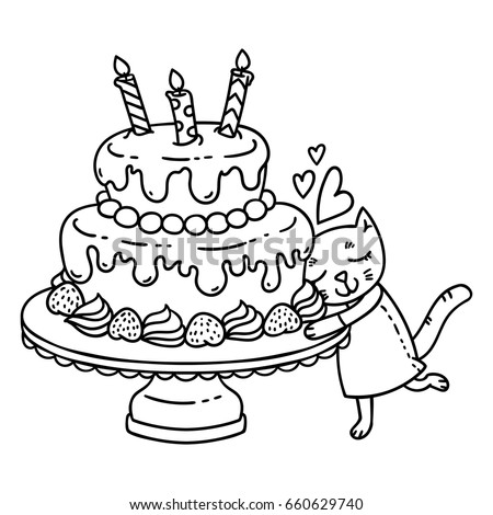 Birthday Cake With Candle And Cute Cat Isolated Objects On White Background Vector Illustration