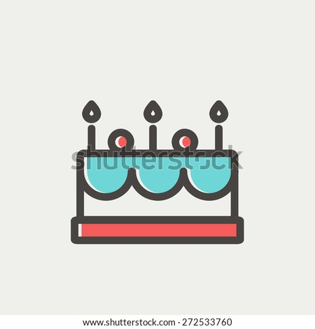 Birthday cake with candle icon thin line for web and mobile, modern minimalistic flat design. Vector icon with dark grey outline and offset colour on light grey background. - stock vector