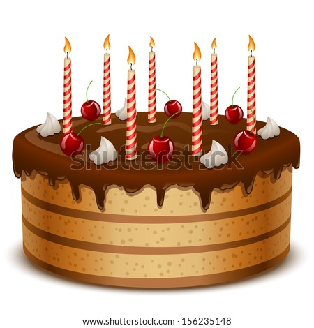 Birthday cake with candles isolated on white background vector illustration. - stock vector