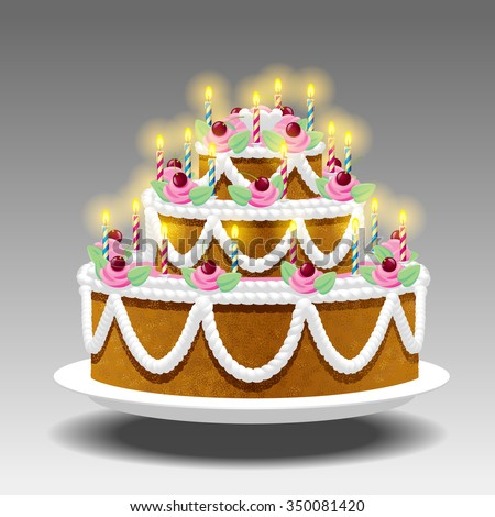 Birthday cake with lights Suspended in the air on white background. Vector illustration - stock vector