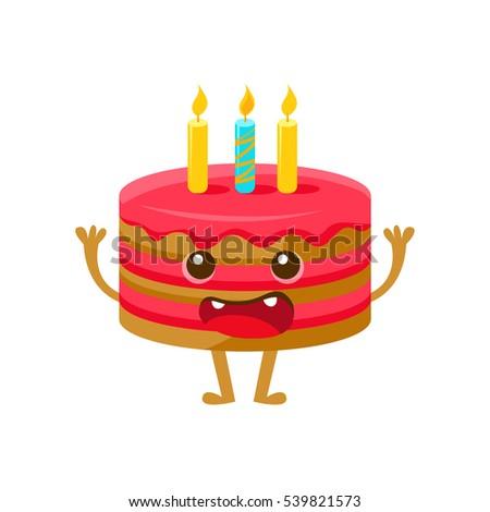 Birthday Cake One Candle Happy Birthday Stock Vector 539821573