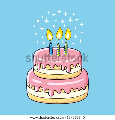 Birthday Cake Three Candles Vector Stock Photo Photo Vector