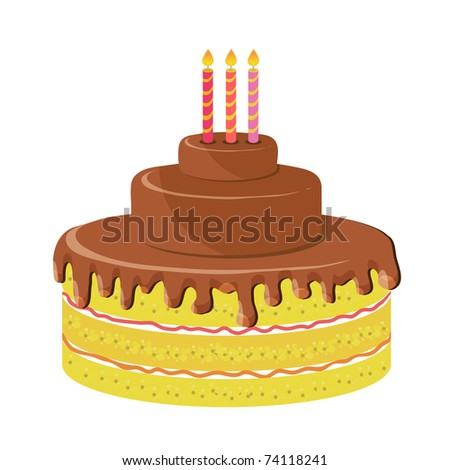 Birthday cake with tree candles - stock vector
