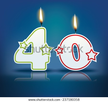 Birthday candle number 40 with flame - eps 10 vector illustration - stock vector