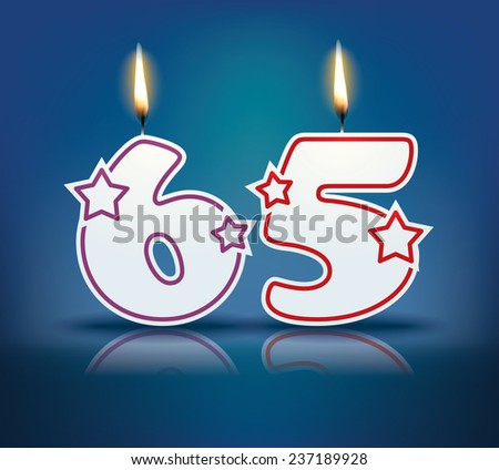 Birthday candle number 65 with flame - eps 10 vector illustration - stock vector