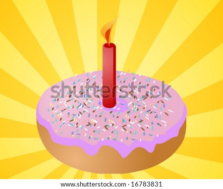 Birthday candle with lit candle festive illustration - stock vector