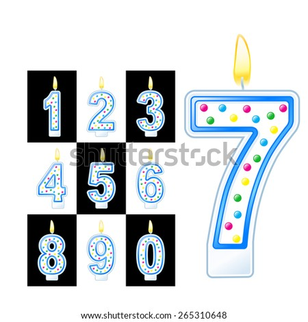 Birthday candles number - stock vector