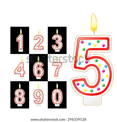 Birthday candles number. Red - stock vector