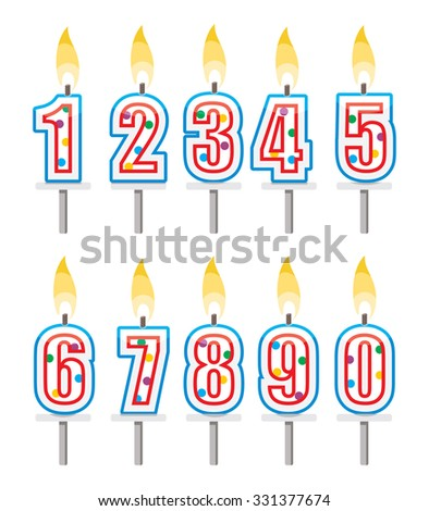 birthday candles set, colorful number shape candles with holders   - stock vector