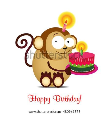 Birthday cardbirthday cakevector funny happy birthday stock vector birthday cardbirthday cakevector funny happy birthday card with funny monkey and cake bookmarktalkfo Gallery