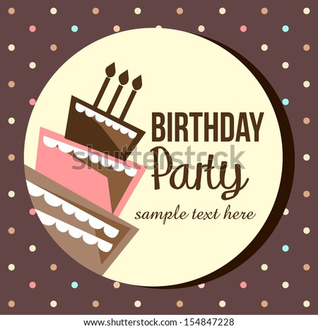 Birthday card, birthday cake with candles and decorations, - stock vector
