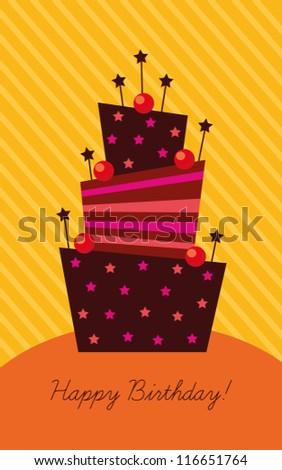 Birthday Card Birthday Cake Decoration Cake Stock Vector 106283354