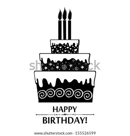 Birthday Card Black And White Cake Isolated On Background Vector Illustration