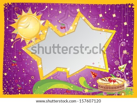 Birthday card | Bright cheerful card with stars and cake for birthday greeting