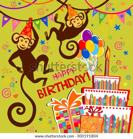Monkeys Birthday Photos RoyaltyFree Images Vectors – Monkey Birthday Card