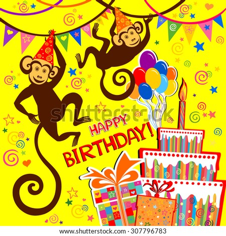 Birthday card. Celebration background with Birthday cake, monkey, balloons, gift boxes and place for your text. vector illustration