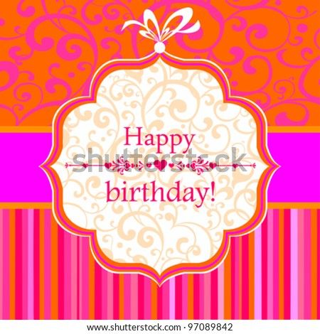 Birthday card. Celebration background with Birthday tag. Vector Illustration