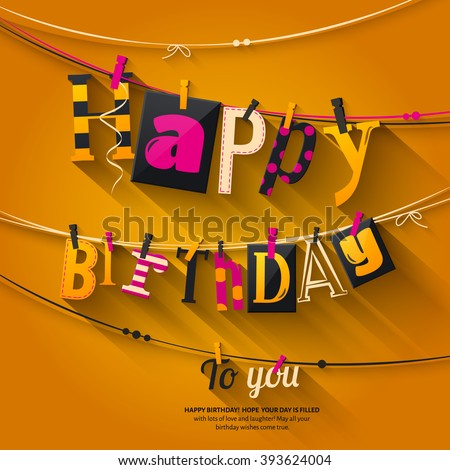 Birthday card. Clothespin and colorful letters hang on rope. Vector.