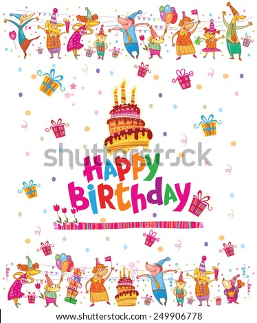 Birthday card design with cake - stock vector
