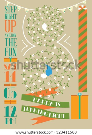 birthday card, flowers in shape of number eight - stock vector