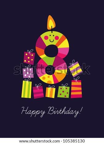 Birthday card for the eighth birthday - stock vector