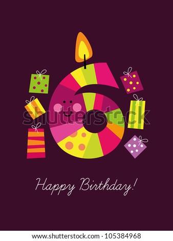 Birthday card for the sixth birthday - stock vector