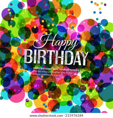 Birthday card in bright colors on polka dots background. - stock vector