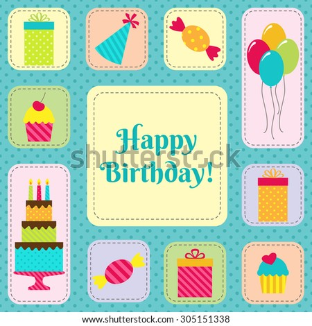 Birthday card or party invitation with cake, balloons, cupcakes, sweets, presents and hats - stock vector