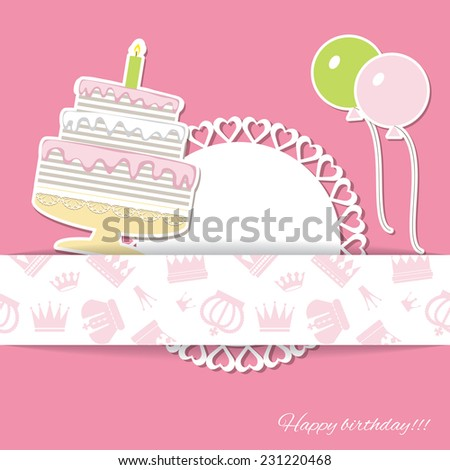 Birthday card. Paper cut elements. Pattern with crowns saved in swatches. - stock vector