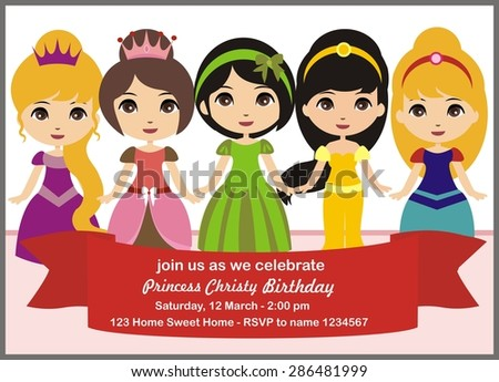 Birthday card princess invitation vector stock vector 286481999 princess invitation vector stopboris Image collections