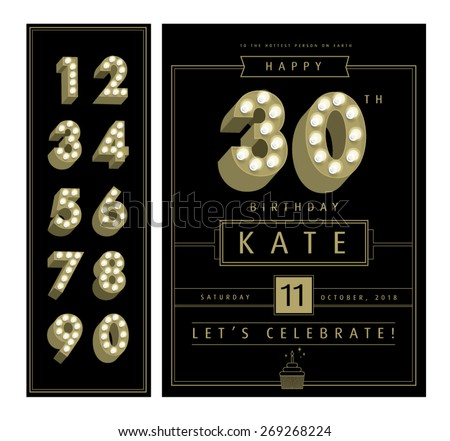 birthday card template with light bulb number/age vector/illustration - stock vector