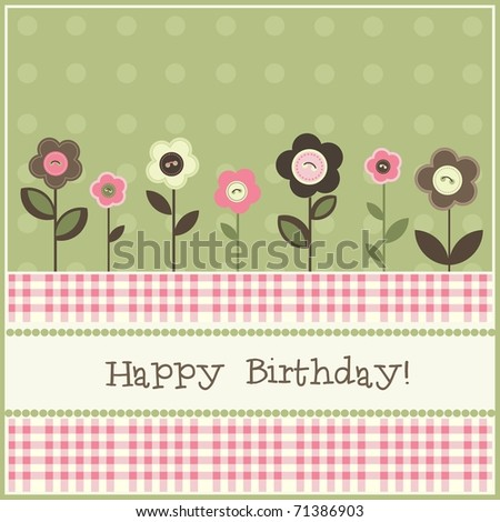 Birthday card, vector - stock vector