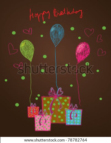 Birthday card - vector illustration, happy birthday card - stock vector