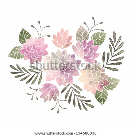 Birthday card. Watercolor floral bouquet. - stock vector
