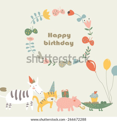 Birthday card with Africa animals.  Cute alligator, tiger,    hippo and zebra in cartoon style. - stock vector