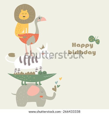 Birthday card with Africa animals.  Cute   lion, elephant,   ostrich, alligator and zebra in cartoon style. - stock vector