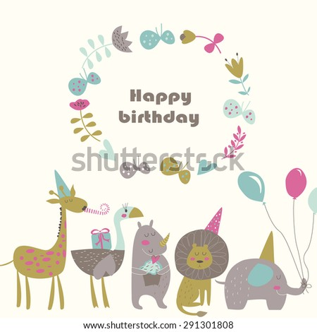 Birthday card with Africa animals.  Cute   lion, elephant, rhino,  ostrich and giraffe  in cartoon style. - stock vector