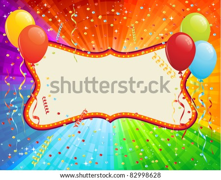 Birthday Card with balloons and confetti. RGB EPS 8 with global colors vector illustration. - stock vector