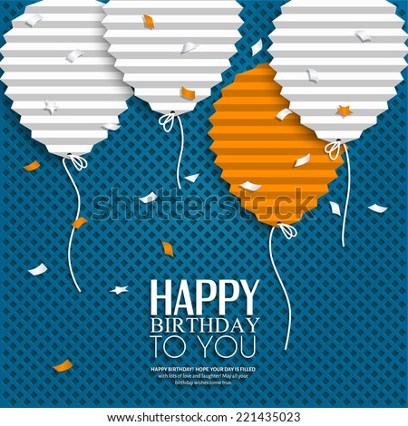 Birthday card balloons style flat folded stock vector 2018 birthday card with balloons in the style of flat folded paper bookmarktalkfo