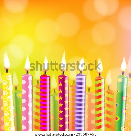 Birthday Card With Candle With Gradient Mesh, Vector Illustration