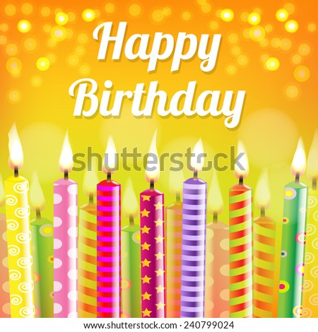 Birthday Card With Candle With Gradient Mesh, Vector Illustration - stock vector