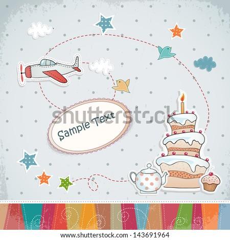 Birthday card with cartoon airplane. - stock vector